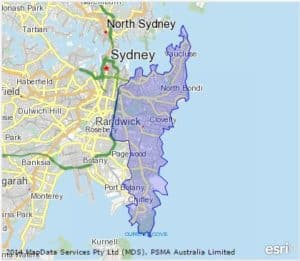 Map of Sydney's Eastern Suburbs