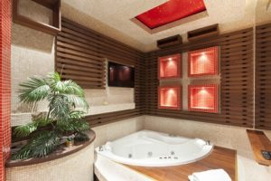 Spa Bath in large modern renovated bathroom